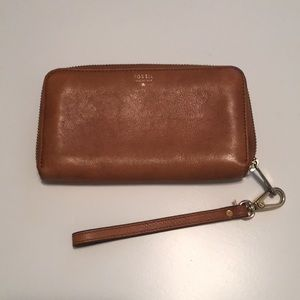 Leather Fossil wristlet